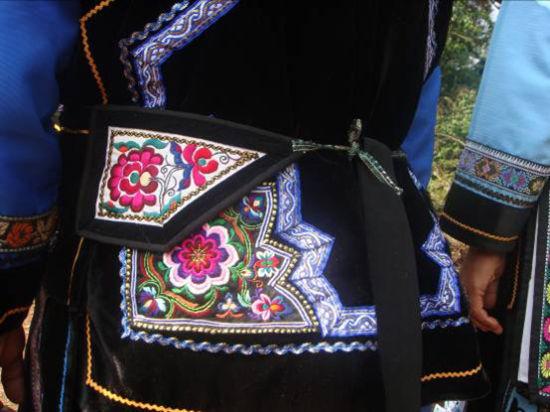 古代女子嫁衣花纹手绘图