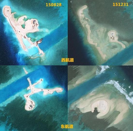 越南在南海填海沙地受台风影响被大浪冲走